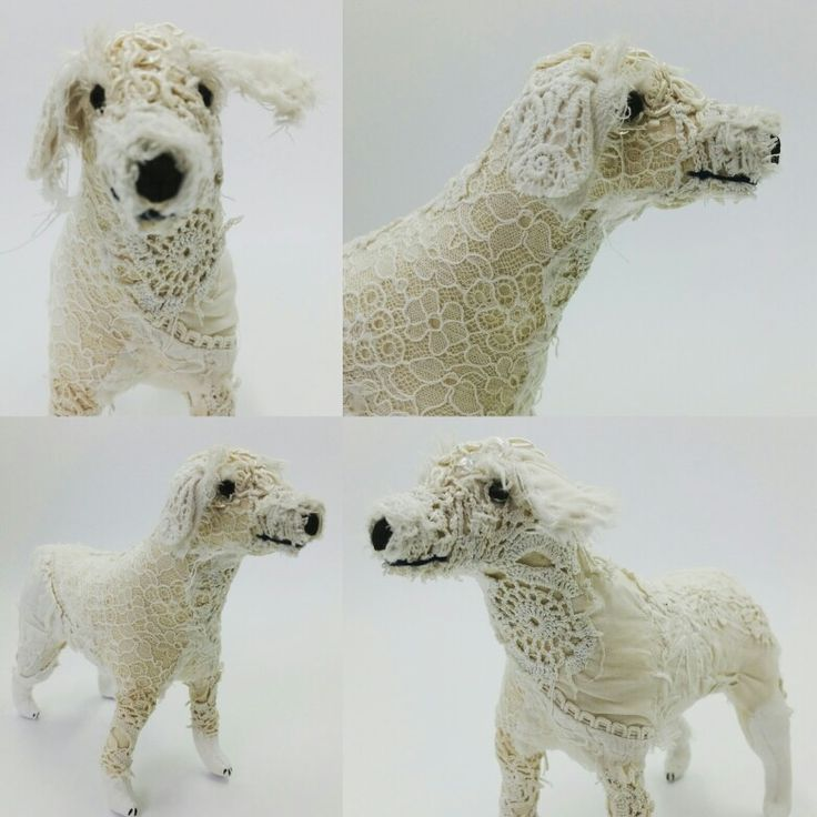 White textile art dog by Sandra Grieve The Felted Room  #dog #whitedog #textileart #vintage #fabric