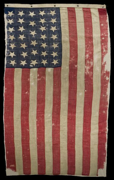 This thirty-four-star American flag reportedly covered Lincoln's body as it was transported from the Petersen House to the White House on the morning of April 15, 1865. During the war, some advisors had urged Lincoln to remove stars representing southern states from U.S. flags but Lincoln refused to do so, based on his belief that secession was invalid and that the Union was perpetual.