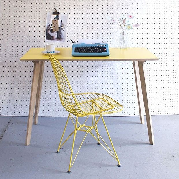 Yellow Formica table, vintage typewriter and wire chair all from Winter's Moon one of this pick of ten of the best interiors websites with online shops http://www.countryliving.co.uk/homes-interiors/interiors/ten-of-the-best-interiors-websites
