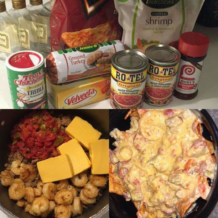 Medium size bag of small shrimp. Fry in butter for 5-10 minutes, add seasoning of your choice (I prefer creole). While that's cooking, prepare turkey or hamburger meat with any seasonings you want. Once it's done, dump it all into a big pot with 2 cans of Rotel Diced Tomatoes and Green Chilli's. Add about half a block of Velveeta cheese, stir it all together and simmer for 10 minutes, no more than 30. Very simple and delicious…
