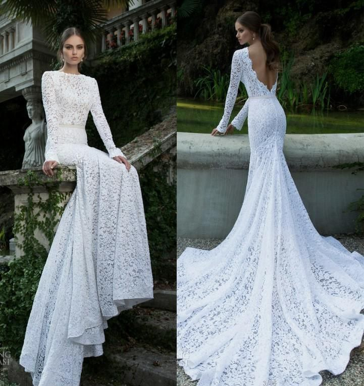 Lace Mermaid Prom Dress With Long Sleeves Hight Neck Backless Fashion Bride Dresses 2014 Fast Shipping US $168.00