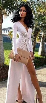Lovely Elegant Deep V-Neck Front Slit Whirlpool White Beach Maxi Long Dress S-L