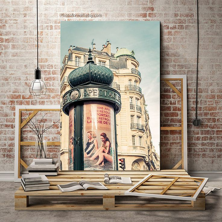 Paris photography in large canvas art, Paris mint photography, Paris bedroom decor, large wall art French decor, cinema by PHOTOFORWALL on Etsy