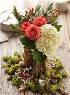 Wood and floral centerpiece