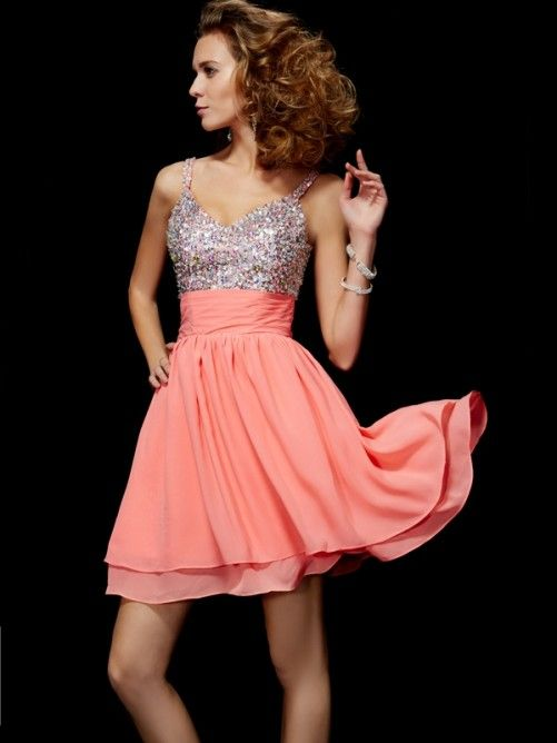 Chic Sequin Sparkle Short Coral Chiffon Homecoming Dress