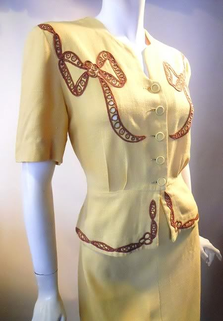 1940s embroidered 2 piece dress, DCV archives: Fashion 1940S, 1940S Dresses, 1940S Fashion, 1940S Inspiration, 1940S Embroidered, Vintage 1940S