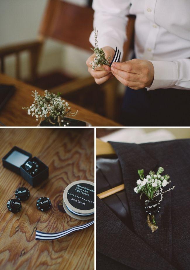 DIY volume knob boutonnieres for musician / music loving groom + groomsmen!