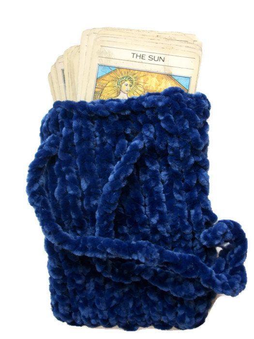 Velvet tarot pouch bag Hand knitted blue by thekittensmittensuk, £11.00