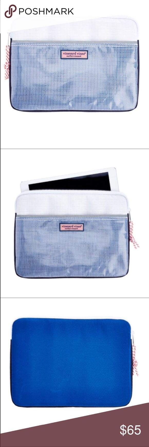 """Vineyard Vines iPad Case Vineyard Vines iPad Case.  New with tags.  Weather the storm!  Lined in cushioning neoprene, this colorful microfiber iPad case protects your tablets on the go.  Fabrics:  100% microfiber with neoprene lining.  Measurements:  11"""" width x 8"""" height x 1"""" depth.  Features:  Vineyard Vines Rubber logo box in front exterior.  Zip closure.  Neoprene lining.  Exterior Velcro pocket.  Care instructions:  spot clean. Vineyard Vines Accessories Tablet Cases"""