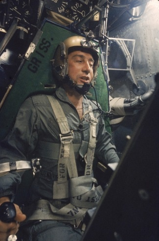 """Astronaut Virgil """"Gus"""" Grissom, the second American to fly into space, shown strapped in a centrifuge during a simulated space flight, 1959. Lieutenant Col. Grissom was killed, along with fellow astronauts Roger Chaffee and Ed White, in a launch pad fire while training for the Apollo 1 mission in January 1967."""