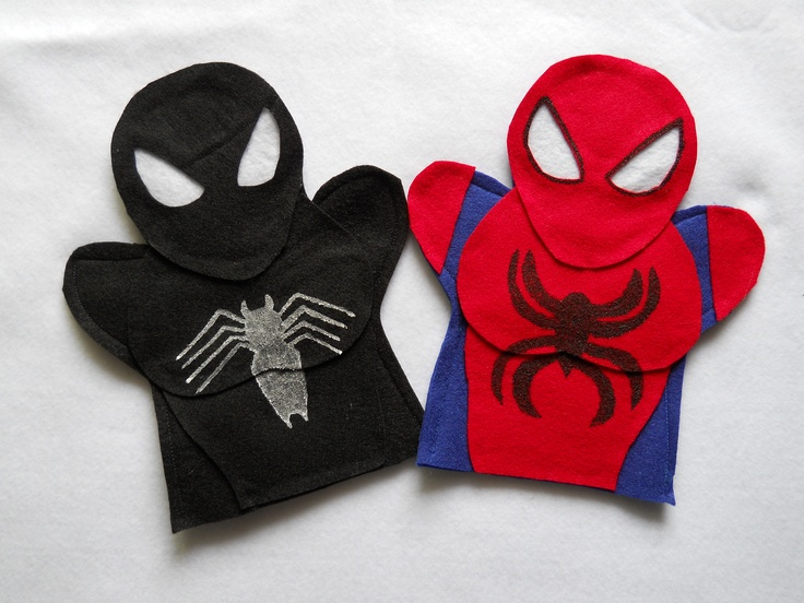 Super Hero Puppets SpiderMan You can purchase these on etsy.com under puppetmaker                                                                                                                                                                                 Más