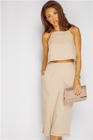 Megan Mckenna Camel Culotte Two Piece Set