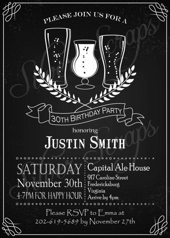 Chalkboard Beer Birthday Invitation