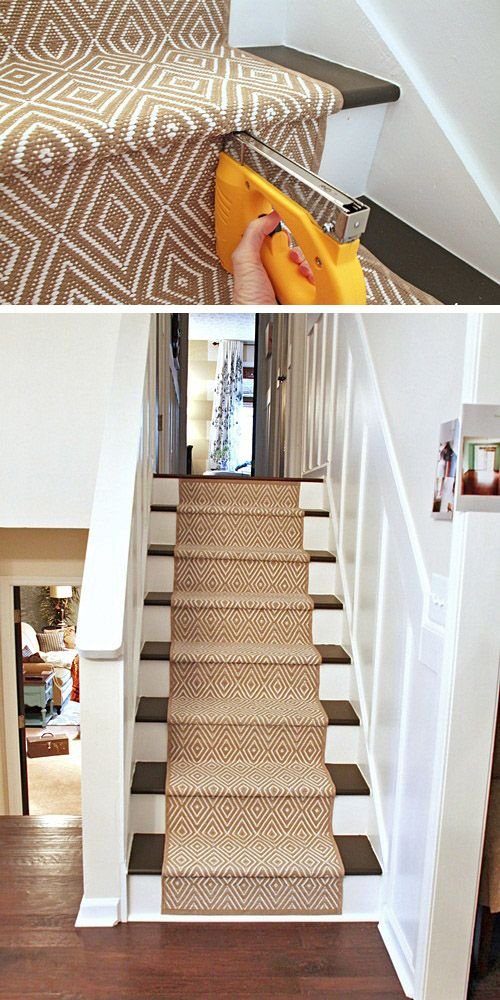 Stair Style – Makeover Your Stairs! • Lots of Ideas and Tutorials! Including from 'southern hospitality', this tutorial on how to install a carpet runner.