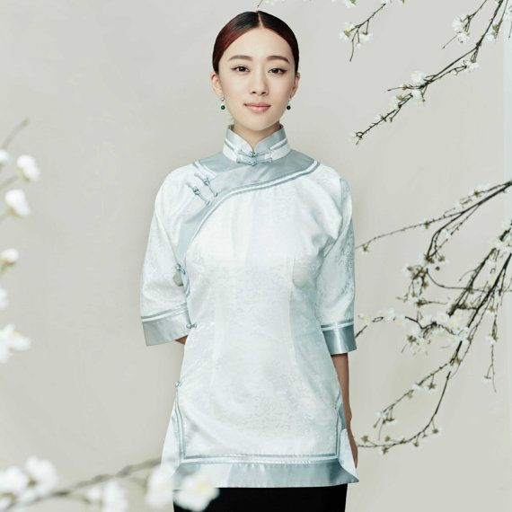 Retro Silk Qipao Top with Delicate Binding & by AnnularRings