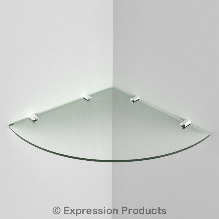 ACRYLIC CORNER SAFETY SHELF - GLASS EFFECT. All of our acrylic shelves are made from 5mm thick acrylic and are very easy to install, they come with Chrome fixings, screws and general rawl plugs. Glass Effect - Cool Blue Tint - Black - White.   eBay!