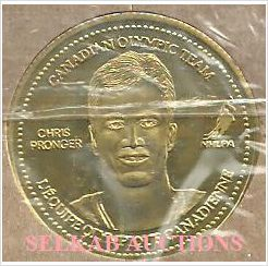 2002 Salt Lake Olympics Team Canada Hockey Coca-Cola Coin Chris Pronger on eBid Canada