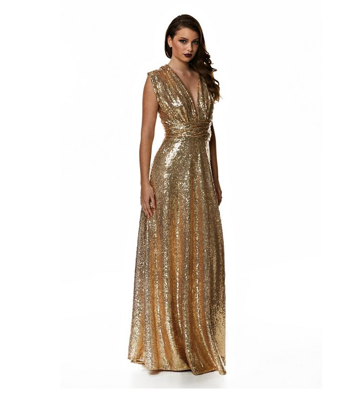 Introduce glittering style with this sequin bridesmaid dress from Goddess by Nature. With over 50 ways to wear this dress, the sequinned Multi-way dress has been created in a style that suits all body shapes.9 colours are available for this amazing gown. For a shorter length, a cocktail version is available . Matching bandeau tops also available upon request to make the gowns bra friendly.Call one of our stylists on 1300 526 443 for more information!SizingSize 0 fits size 4-8 Size 1 fits…