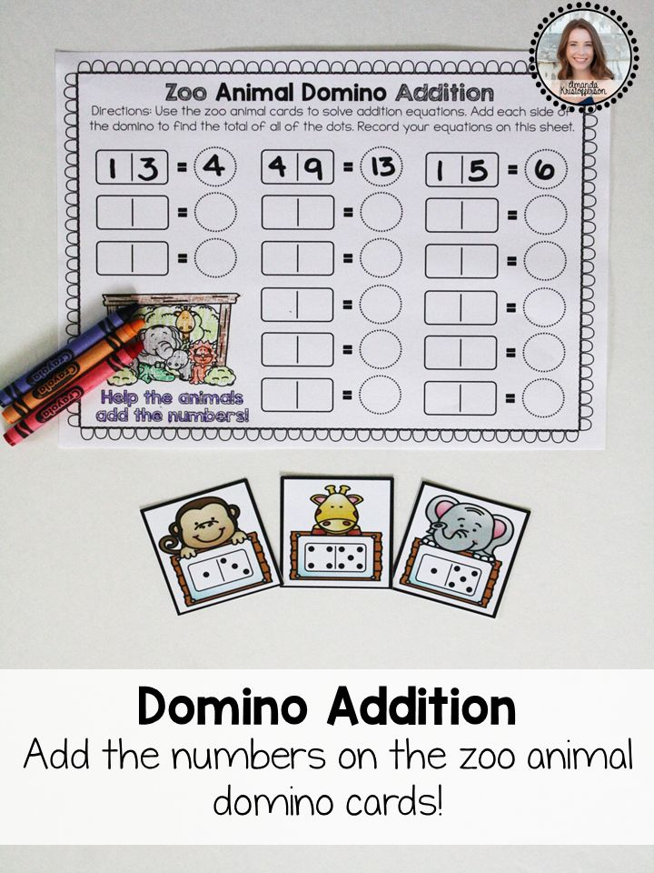 Students will love practicing addition with this zoo animal themed center! This set is perfect to use in an independent learning station during math time in your classroom. Students take one animal card and use the dots on each side to create their own addition equation. Dots and equations can be recorded on the worksheet included.