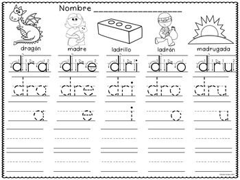silabas trabadas tracing spanish syllables with blends 60 silabas trabadas se representan en. Black Bedroom Furniture Sets. Home Design Ideas