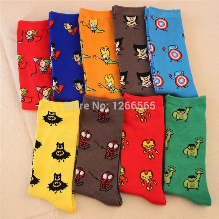 2015 new High quality anime heros meias masculinas superman batman funny socks calcetines mujer skateboard fuzzy chaussette