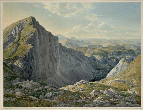 Eduard Gurk, Der Große Höllstein mit der Ansicht gegen Mariazell (Guckkastenblatt), 1835 © Albertina, Wien