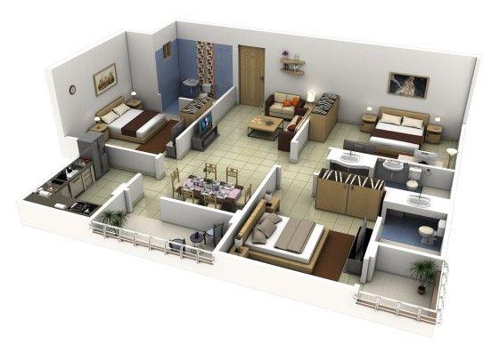 Plano de apartamento de 3 habitaciones