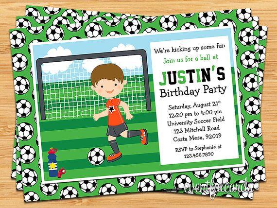 Boys Soccer Birthday Party Invitation by eventfulcards on Etsy