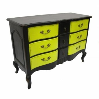 Painted Furniture - I'm doing this to my drab bedroom furniture. With a black base, drawers can be repainted to match any room!