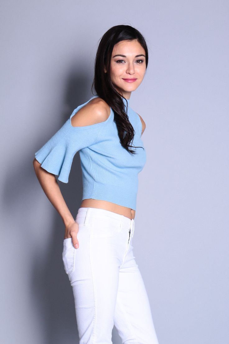 Cut-Out Bell Sleeve Knit Top (Blue) SGD$ 29.00