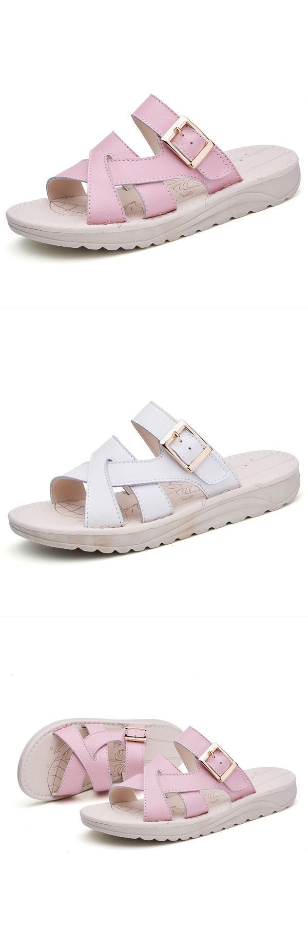 bandage buckle slip on wedge sandals soft leather slip on beach slipper sandals  sandals under $5