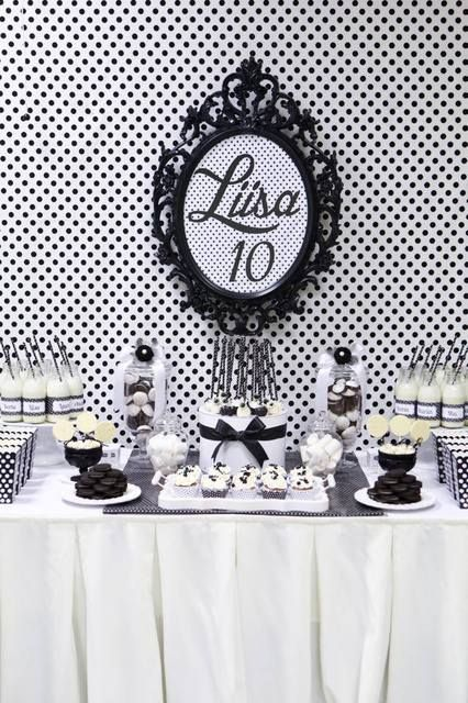 What a gorgeous black and white birthday dessert table! See more party ideas at CatchMyParty.com.