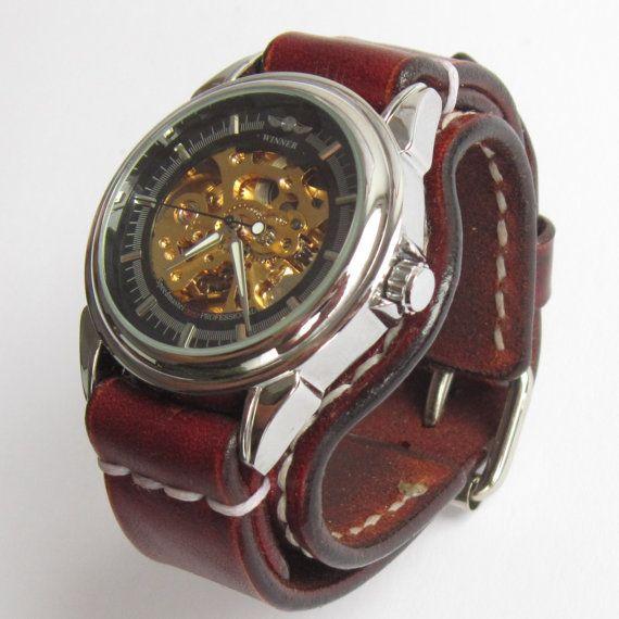 Ladies' Brown Leather Watch Woman Watch Vintage by loversbracelets