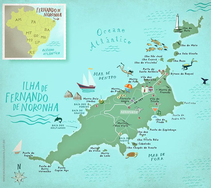 Map of the Island Fernando de Noronha, Brazil. From mundodosmapas.art.br - the site of Nik Neves and Marina Camargo