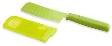 Kuhn Rikon Nonstick Nakiri Knife Colori, Green - modern - santoku knives - FactoryDirect2you