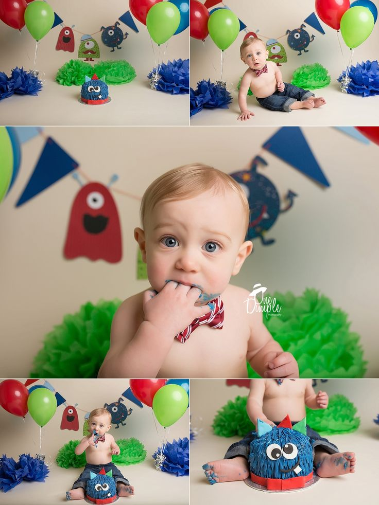 Monster Cake Smash. One Dimple Photography. DFW baby photographer