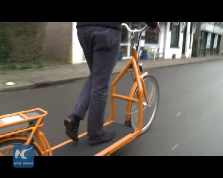 "Can you walk fast without efforts, cycle without paddles, ride a treadmill while moving?  ""E-walking bike"", invited by a Dutch company Kiqqoff, makes all these come true."