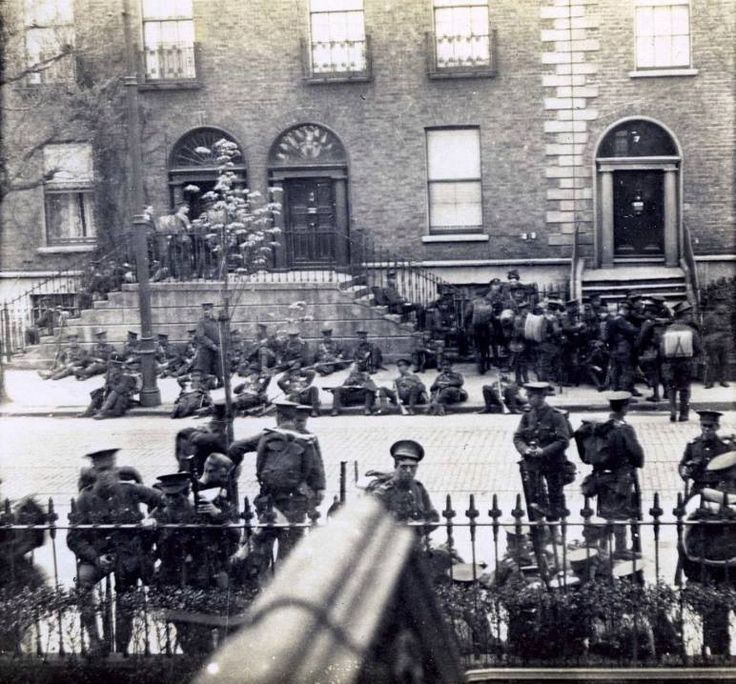 British soldiers rest after battle of Mount St Easter Rising 1916