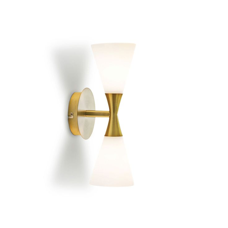Harlekin Duo Wall Lamp, Brass/White, 321