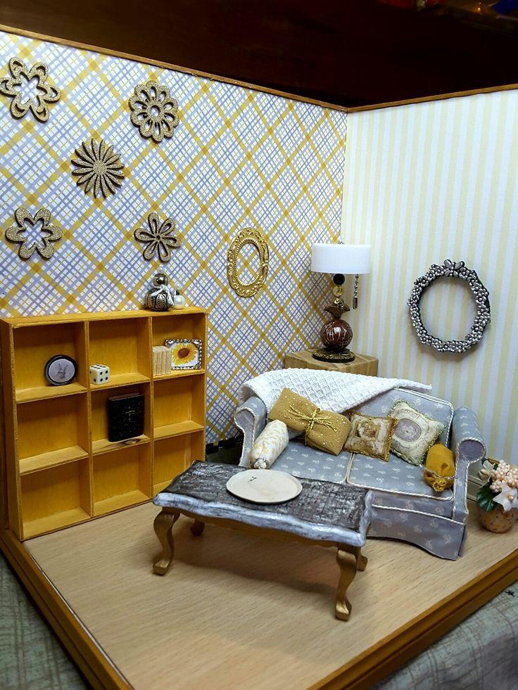 Gold grey miniature living room