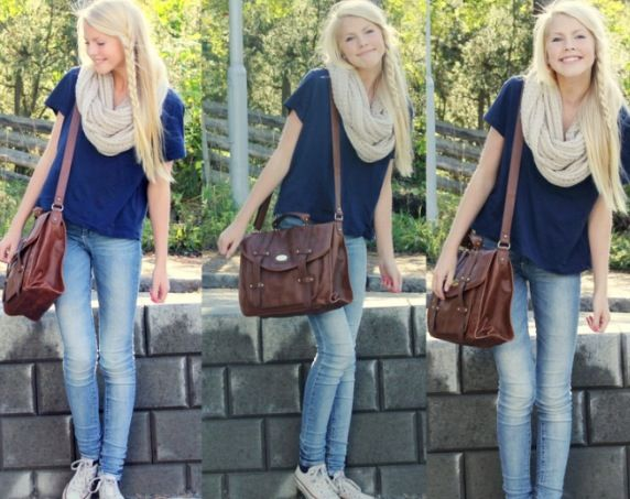 Light Skinny Jeans, Navy Top, Beige Circle Scarf, Converse