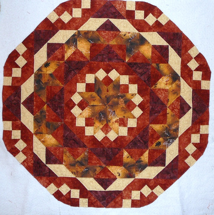 Hand piece, hand quilted...English Paper piecing table topper