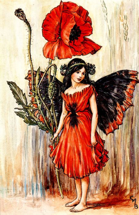 """Poppy Fairy - Cicely Mary Barker    """"Now the harvest's ended,   The wheat-field is bare;   But still, red and splendid,   I am there."""""""