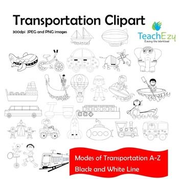 Clipart Transport - Each letter of the alphabet is represented in this clipart. This is a B&W line version. We have a color version as well. Each picture is presented as a JPEG and PNG 300dpi.  Please view our PDF PREVIEW to see larger images before purchasing.  Terms are included in the download.