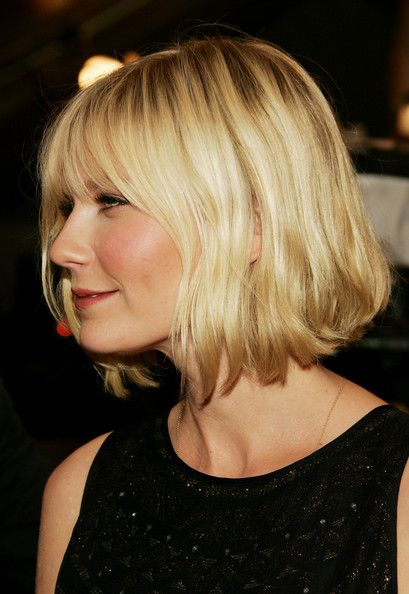 Angled bob with face framing layers and a light fringe. Golden honey blonde.