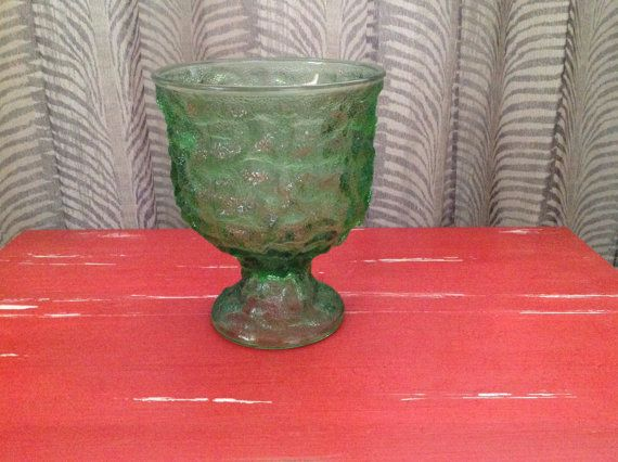 Vintage E. O. Brody Footed Compose/Vase Crinkle Style Molded Green Glass A102. Vintage 1960s. This item is used in great condition with no chips, cracks, or scratches.
