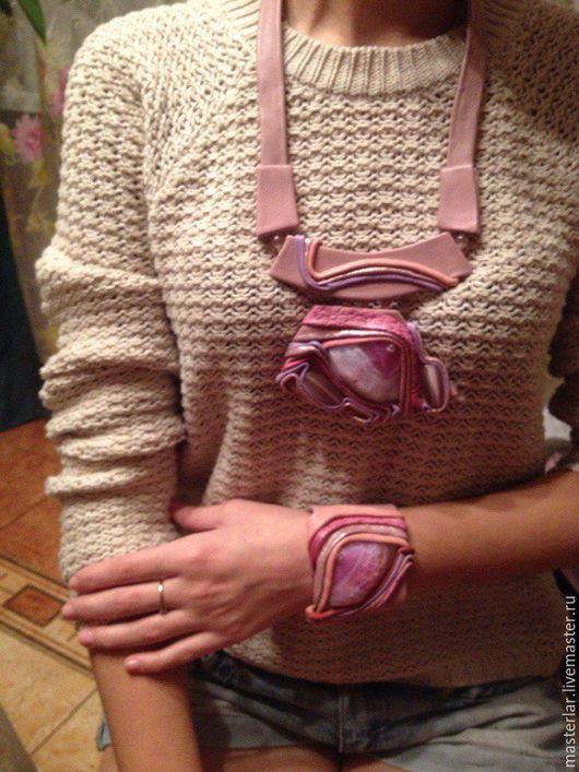 Комплекты украшений ручной работы. Ярмарка Мастеров - ручная работа. Купить Комплект из кожи- розовые облака. Handmade. Розовый