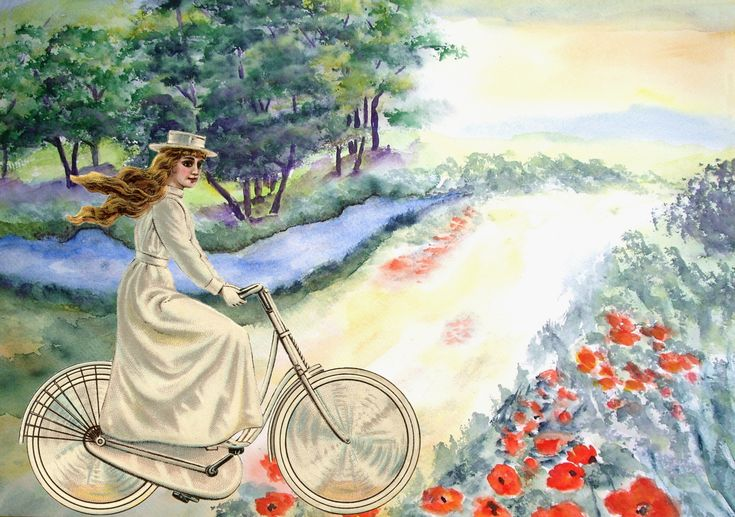 Vintage Lady Cycling Countryside
