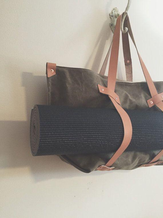 Yoga  / Everyday / Utility Tote // large // waxed canvas inside and out // vegtan leather // copper rivets //  gym bag