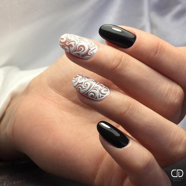 Birthday nails, Black and white nail ideas, Evening nails, Festive nails, Ideas of evening nails, Nails by black and white dress, Nails trends 2016, New years nails